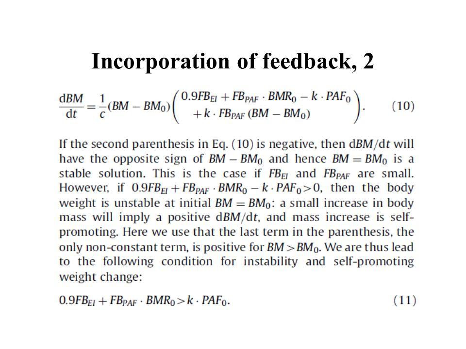 Incorporation of feedback, 2