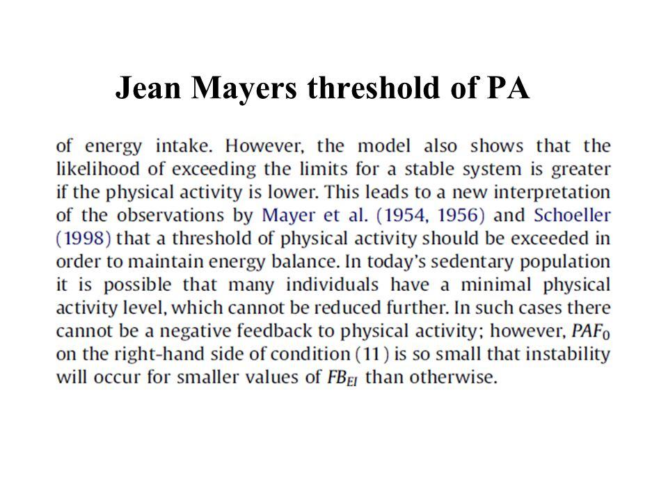 Jean Mayers threshold of PA