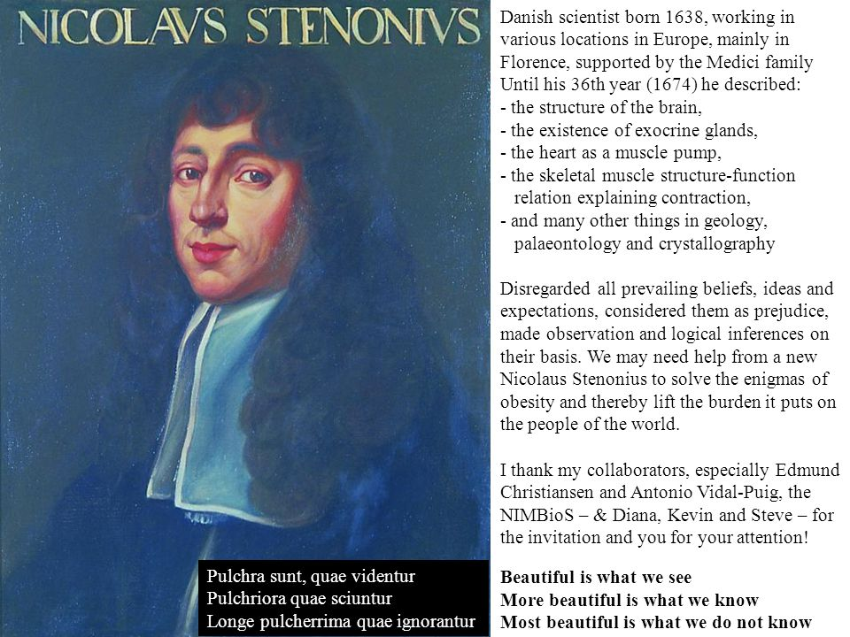 Danish scientist born 1638, working in various locations in Europe, mainly in Florence, supported by the Medici family Until his 36th year (1674) he described: - the structure of the brain, - the existence of exocrine glands, - the heart as a muscle pump, - the skeletal muscle structure-function relation explaining contraction, - and many other things in geology, palaeontology and crystallography Disregarded all prevailing beliefs, ideas and expectations, considered them as prejudice, made observation and logical inferences on their basis.