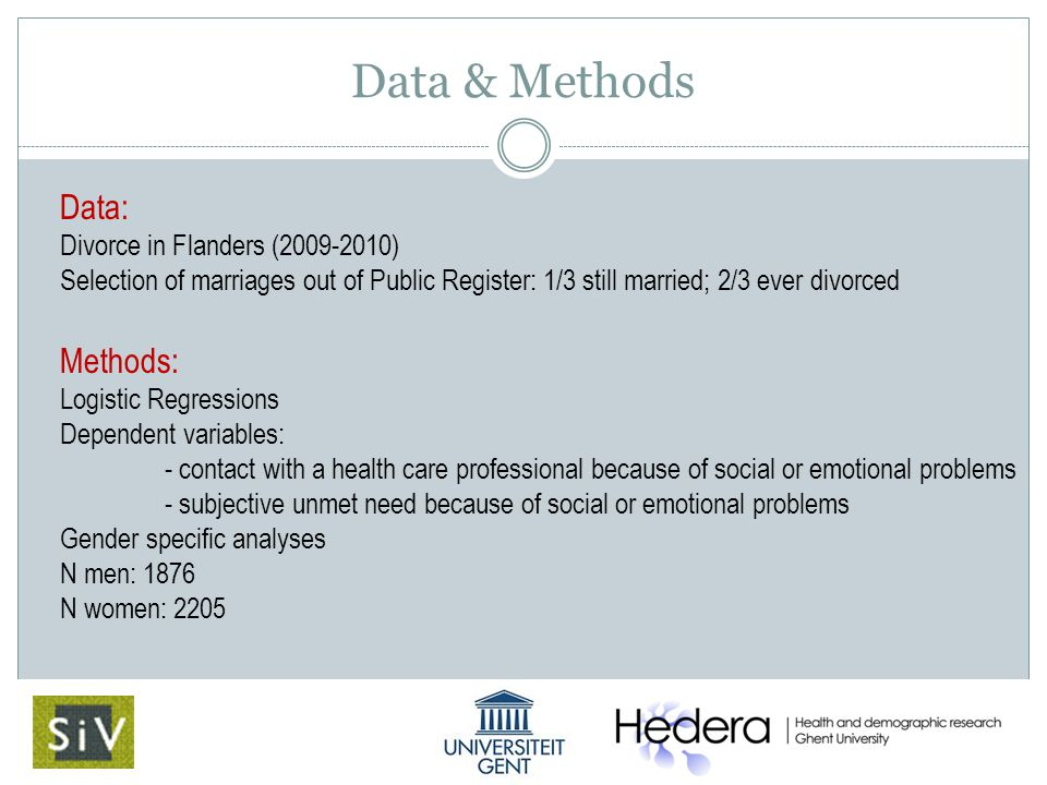 Data & Methods Data: Divorce in Flanders (2009-2010) Selection of marriages out of Public Register: 1/3 still married; 2/3 ever divorced Methods: Logistic Regressions Dependent variables: - contact with a health care professional because of social or emotional problems - subjective unmet need because of social or emotional problems Gender specific analyses N men: 1876 N women: 2205