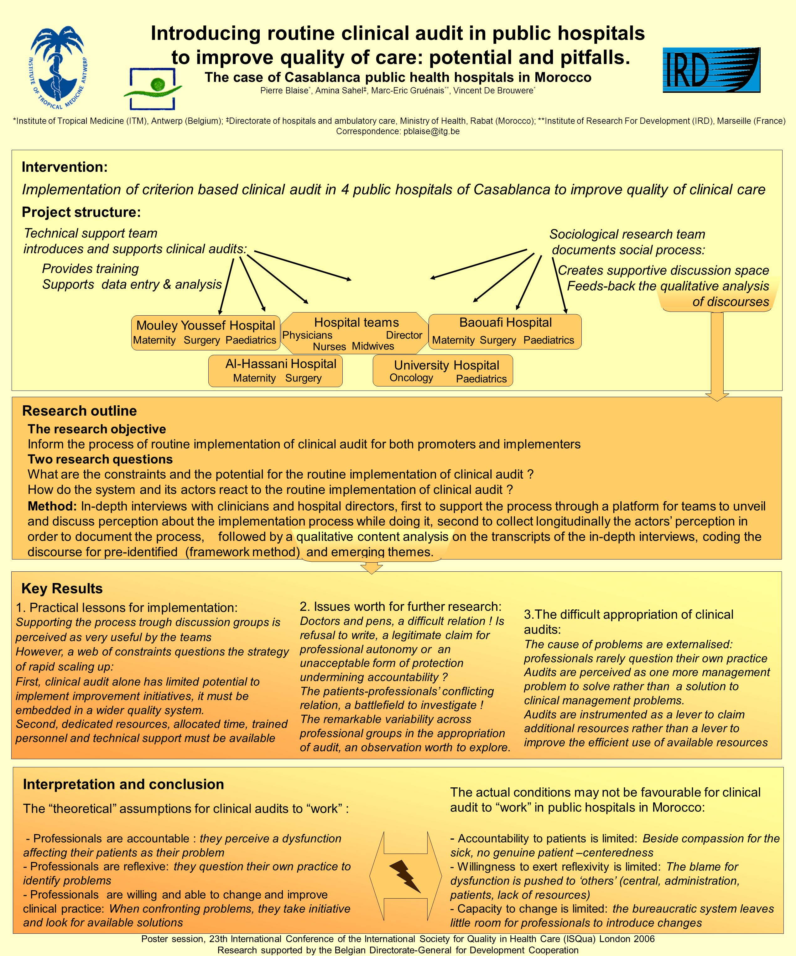 Interpretation and conclusion Research outline Intervention: Implementation of criterion based clinical audit in 4 public hospitals of Casablanca to improve quality of clinical care Project structure: Key Results Introducing routine clinical audit in public hospitals to improve quality of care: potential and pitfalls.
