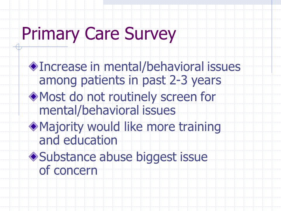 Primary Care Survey Increase in mental/behavioral issues among patients in past 2-3 years Most do not routinely screen for mental/behavioral issues Majority would like more training and education Substance abuse biggest issue of concern