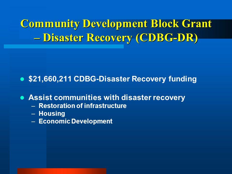 Community Development Block Grant – Disaster Recovery (CDBG-DR) $21,660,211 CDBG-Disaster Recovery funding Assist communities with disaster recovery –Restoration of infrastructure –Housing –Economic Development