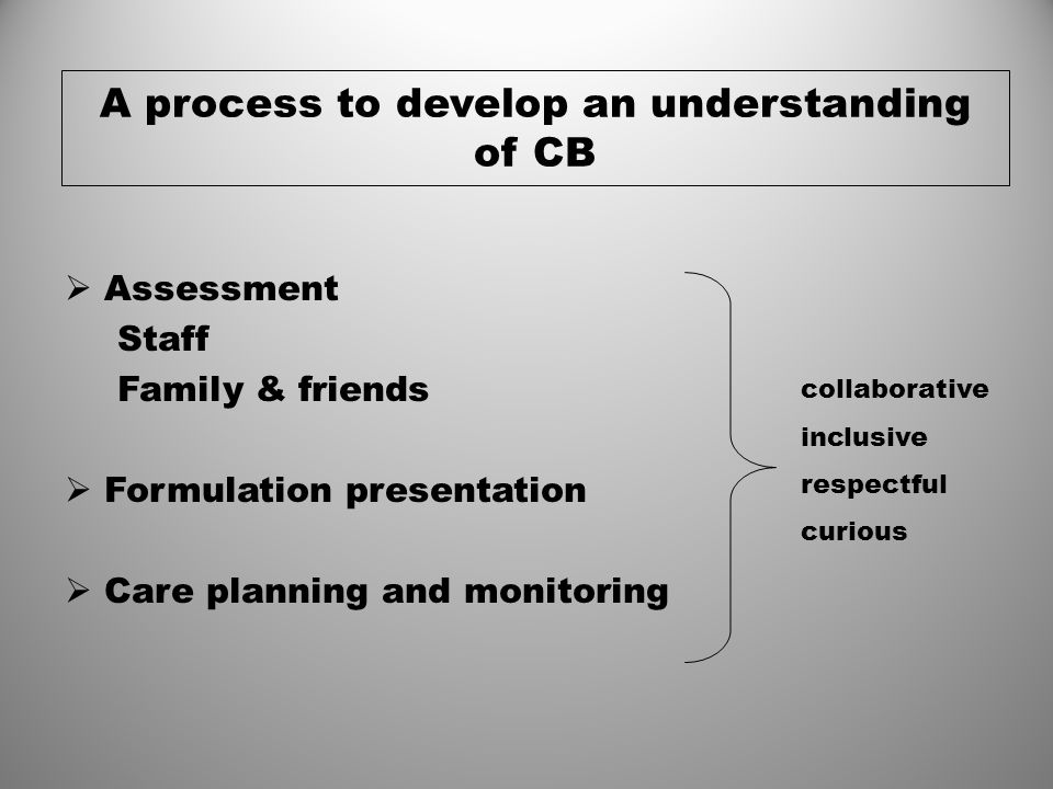 A process to develop an understanding of CB  Assessment Staff Family & friends  Formulation presentation  Care planning and monitoring collaborativ