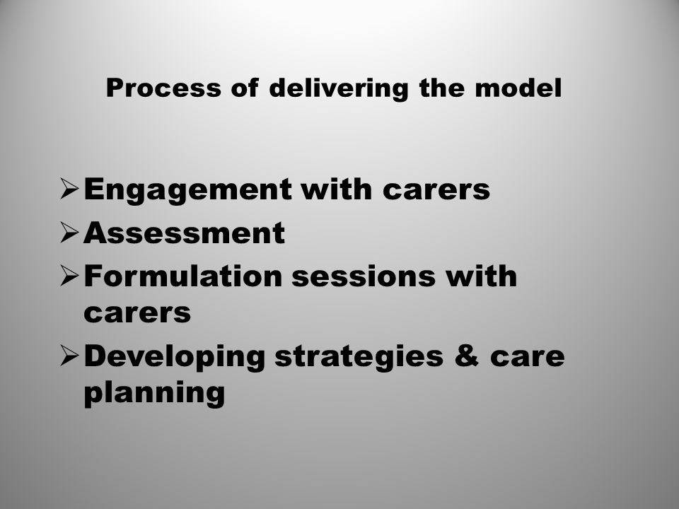 Process of delivering the model  Engagement with carers  Assessment  Formulation sessions with carers  Developing strategies & care planning