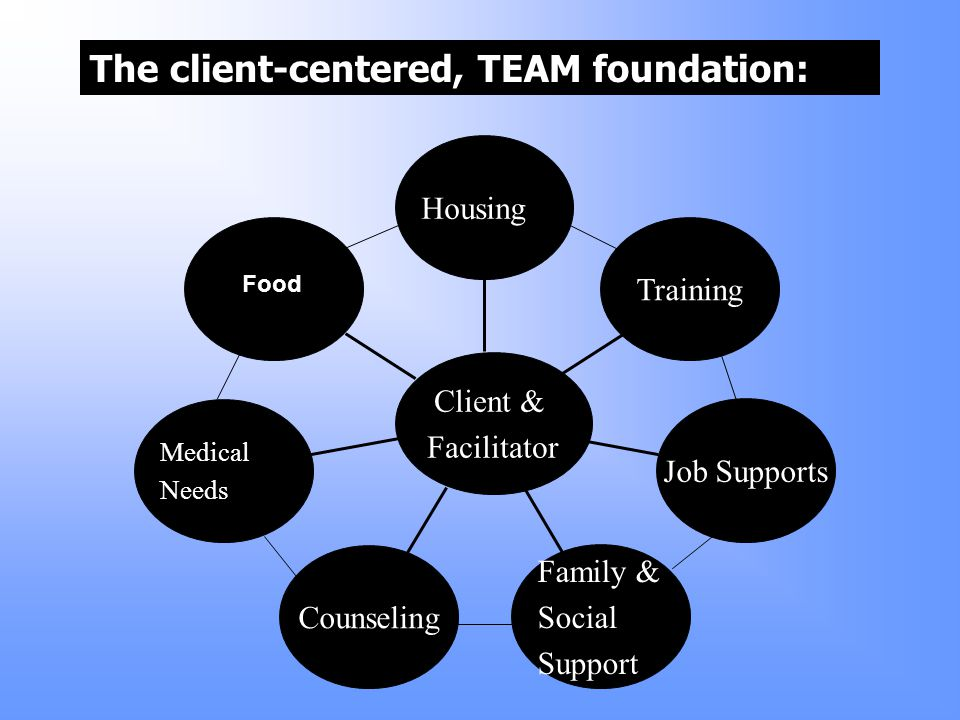 Medical Needs Counseling Family & Social Support Job Supports Training Housing Client & Facilitator Food The client-centered, TEAM foundation: