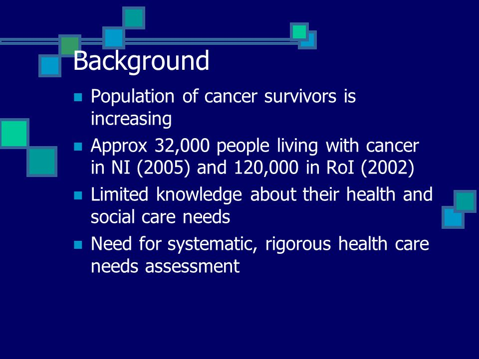 Background Population of cancer survivors is increasing Approx 32,000 people living with cancer in NI (2005) and 120,000 in RoI (2002) Limited knowled