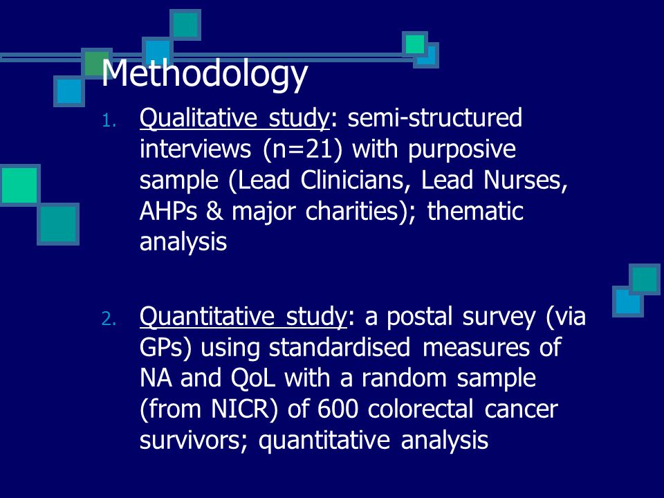 Methodology 1. Qualitative study: semi-structured interviews (n=21) with purposive sample (Lead Clinicians, Lead Nurses, AHPs & major charities); them