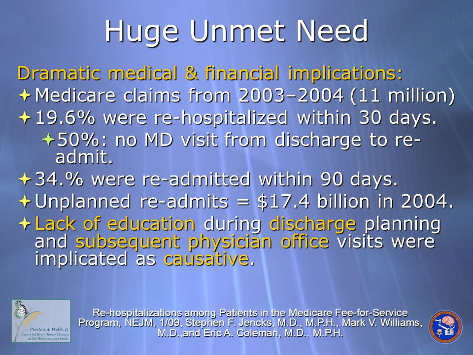 Huge Unmet Need Dramatic medical & financial implications:  Medicare claims from 2003–2004 (11 million)  19.6% were re-hospitalized within 30 days.