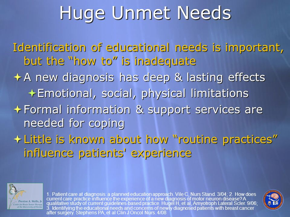 Huge Unmet Needs Identification of educational needs is important, but the how to is inadequate  A new diagnosis has deep & lasting effects  Emotional, social, physical limitations  Formal information & support services are needed for coping  Little is known about how routine practices influence patients experience Identification of educational needs is important, but the how to is inadequate  A new diagnosis has deep & lasting effects  Emotional, social, physical limitations  Formal information & support services are needed for coping  Little is known about how routine practices influence patients experience 1.