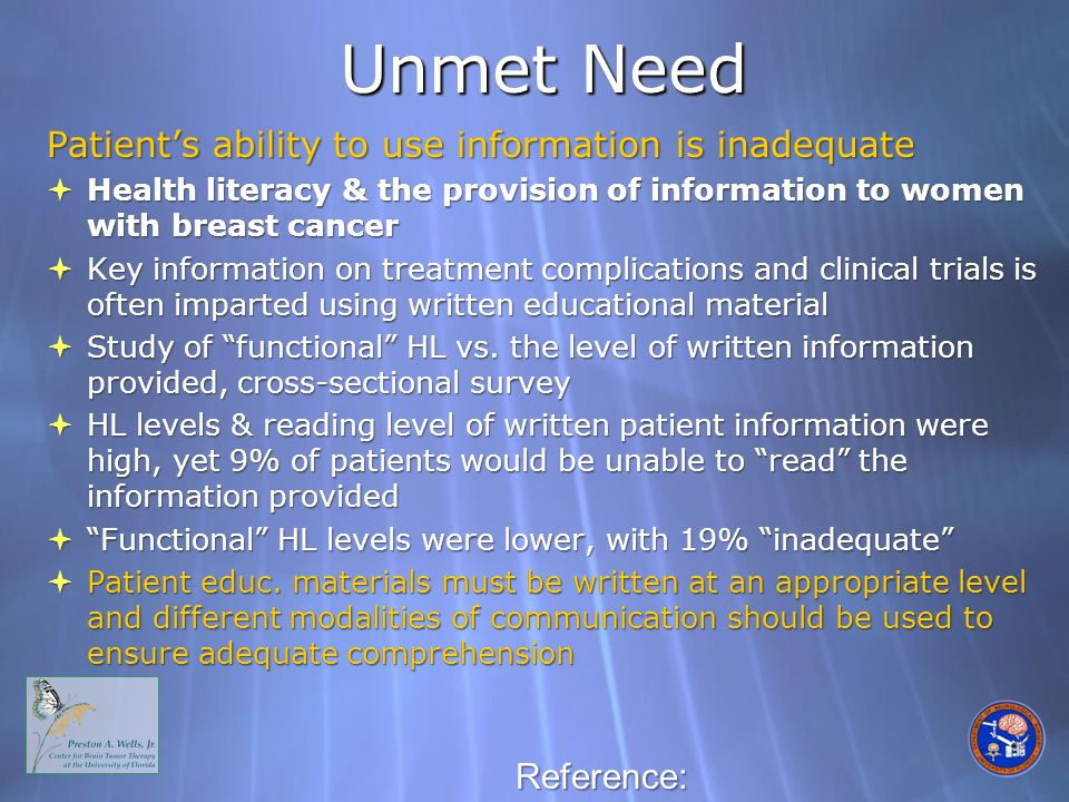 Unmet Need Patient's ability to use information is inadequate  Health literacy & the provision of information to women with breast cancer  Key information on treatment complications and clinical trials is often imparted using written educational material  Study of functional HL vs.