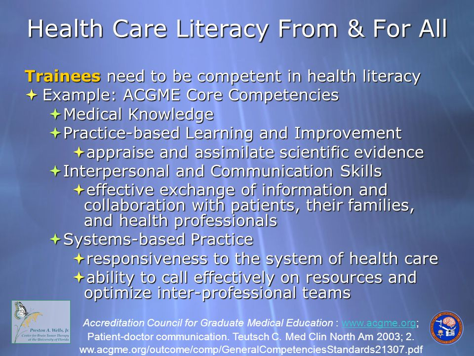 Health Care Literacy From & For All Trainees need to be competent in health literacy  Example: ACGME Core Competencies  Medical Knowledge  Practice-based Learning and Improvement  appraise and assimilate scientific evidence  Interpersonal and Communication Skills  effective exchange of information and collaboration with patients, their families, and health professionals  Systems-based Practice  responsiveness to the system of health care  ability to call effectively on resources and optimize inter-professional teams Trainees need to be competent in health literacy  Example: ACGME Core Competencies  Medical Knowledge  Practice-based Learning and Improvement  appraise and assimilate scientific evidence  Interpersonal and Communication Skills  effective exchange of information and collaboration with patients, their families, and health professionals  Systems-based Practice  responsiveness to the system of health care  ability to call effectively on resources and optimize inter-professional teams Accreditation Council for Graduate Medical Education : www.acgme.org; Patient-doctor communication.