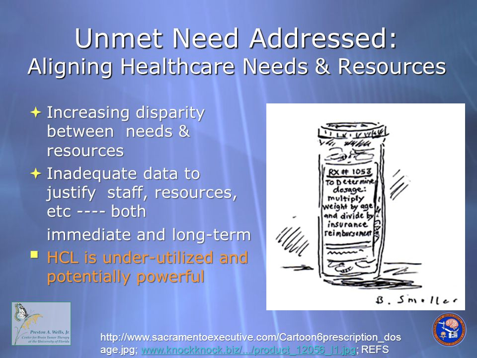 Unmet Need Addressed: Aligning Healthcare Needs & Resources http://www.sacramentoexecutive.com/Cartoon6prescription_dos age.jpg; www.knockknock.biz/.../product_12056_l1.jpg; REFS www.knockknock.biz/.../product_12056_l1.jpg  Increasing disparity between needs & resources  Inadequate data to justify staff, resources, etc ---- both immediate and long-term  HCL is under-utilized and potentially powerful
