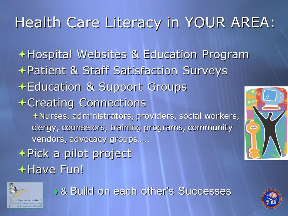 Health Care Literacy in YOUR AREA:  Hospital Websites & Education Program  Patient & Staff Satisfaction Surveys  Education & Support Groups  Creating Connections  Nurses, administrators, providers, social workers, clergy, counselors, training programs, community vendors, advocacy groups…..