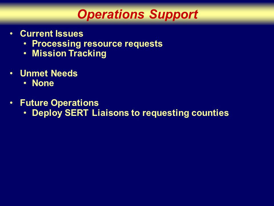 Operations Support Current Issues Processing resource requests Mission Tracking Unmet Needs None Future Operations Deploy SERT Liaisons to requesting counties