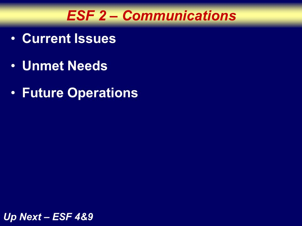 ESF 2 – Communications Up Next – ESF 4&9 Current Issues Unmet Needs Future Operations