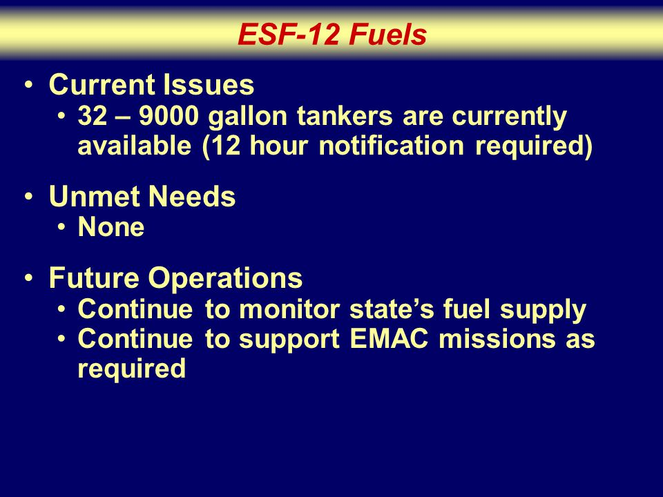 ESF-12 Fuels Current Issues 32 – 9000 gallon tankers are currently available (12 hour notification required) Unmet Needs None Future Operations Continue to monitor state's fuel supply Continue to support EMAC missions as required