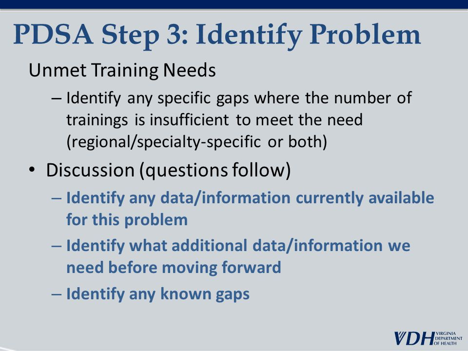 PDSA Step 3: Identify Problem Unmet Training Needs – Identify any specific gaps where the number of trainings is insufficient to meet the need (regional/specialty-specific or both) Discussion (questions follow) – Identify any data/information currently available for this problem – Identify what additional data/information we need before moving forward – Identify any known gaps