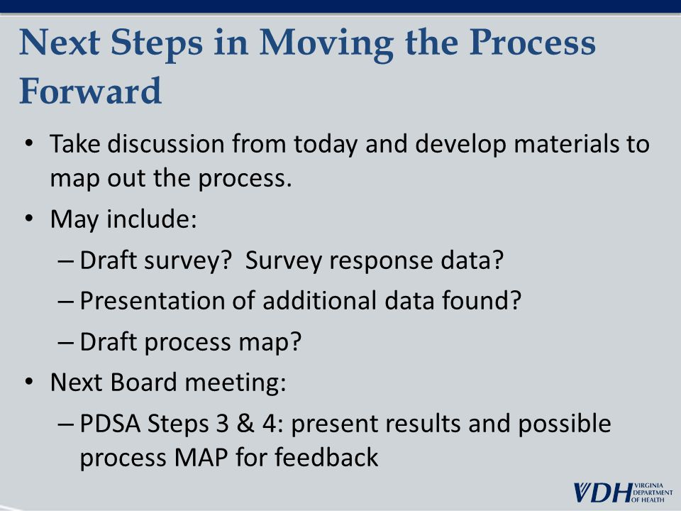 Next Steps in Moving the Process Forward Take discussion from today and develop materials to map out the process.