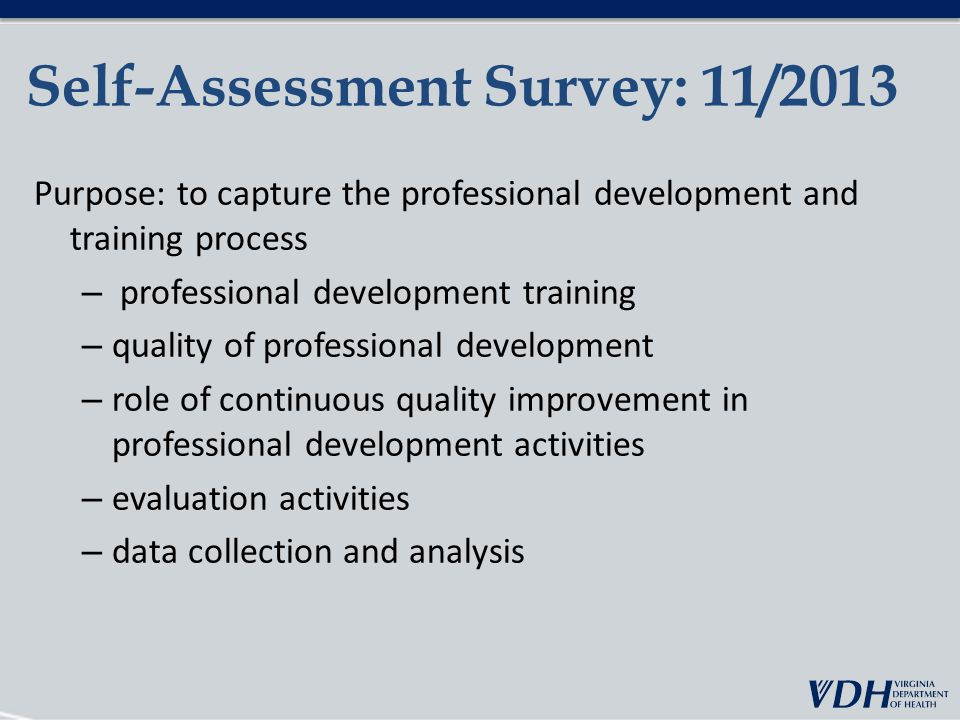 Self-Assessment Survey: 11/2013 Purpose: to capture the professional development and training process – professional development training – quality of professional development – role of continuous quality improvement in professional development activities – evaluation activities – data collection and analysis