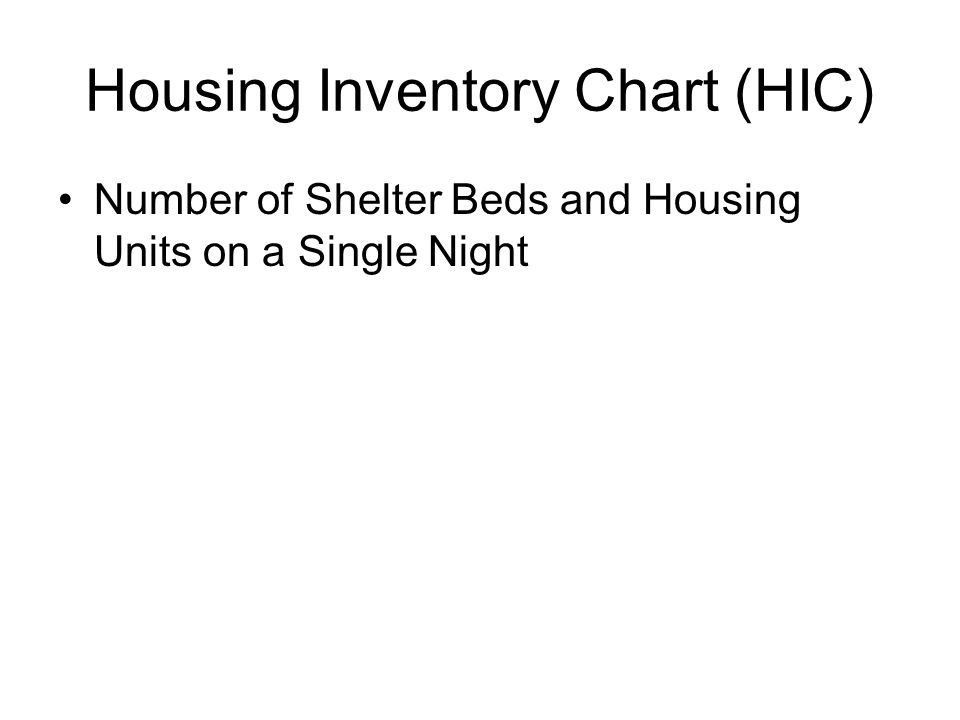 Housing Inventory Chart (HIC) Number of Shelter Beds and Housing Units on a Single Night