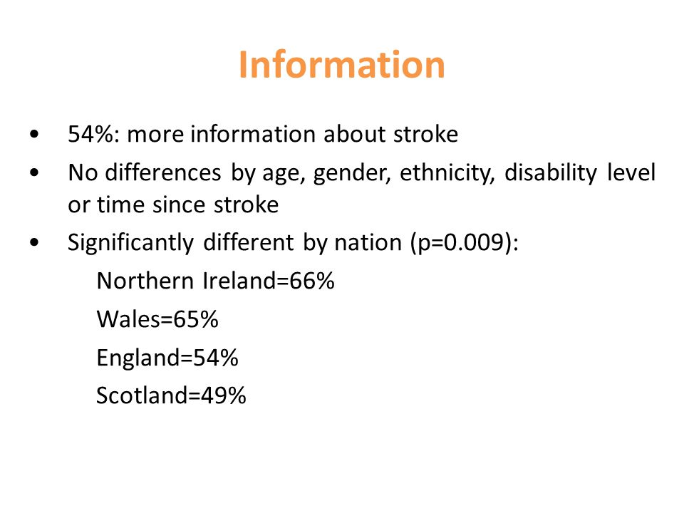 Information 54%: more information about stroke No differences by age, gender, ethnicity, disability level or time since stroke Significantly different by nation (p=0.009): Northern Ireland=66% Wales=65% England=54% Scotland=49%