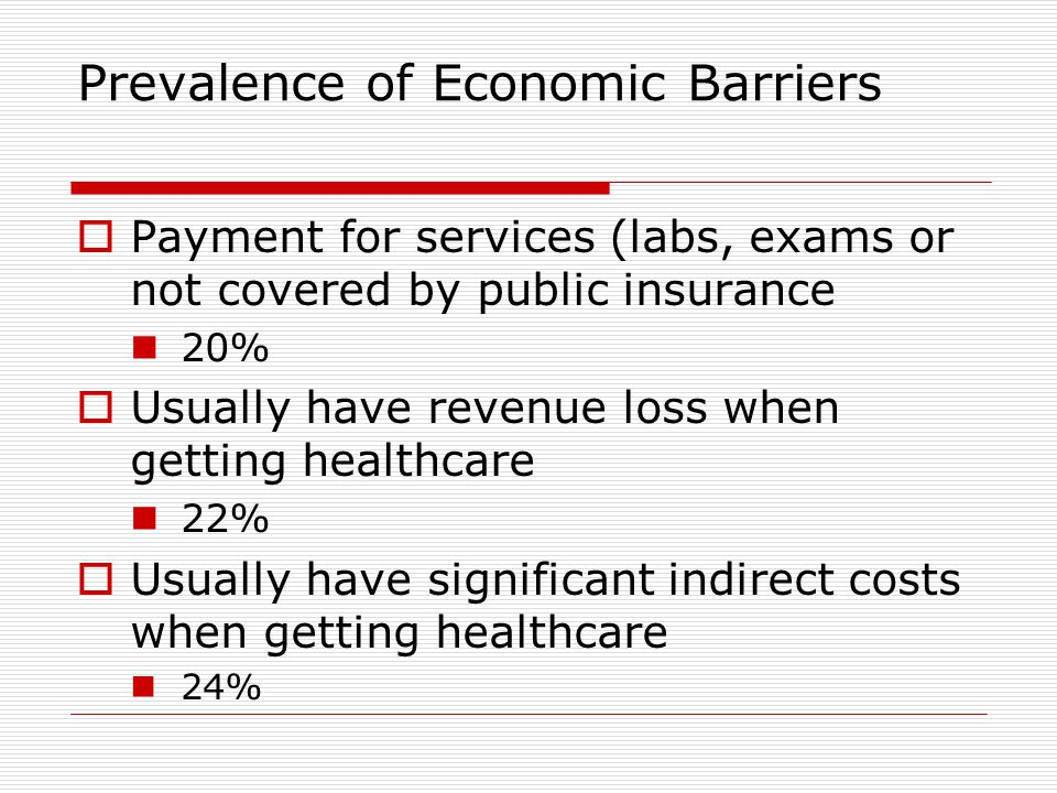 Prevalence of Economic Barriers  Payment for services (labs, exams or not covered by public insurance 20%  Usually have revenue loss when getting healthcare 22%  Usually have significant indirect costs when getting healthcare 24%