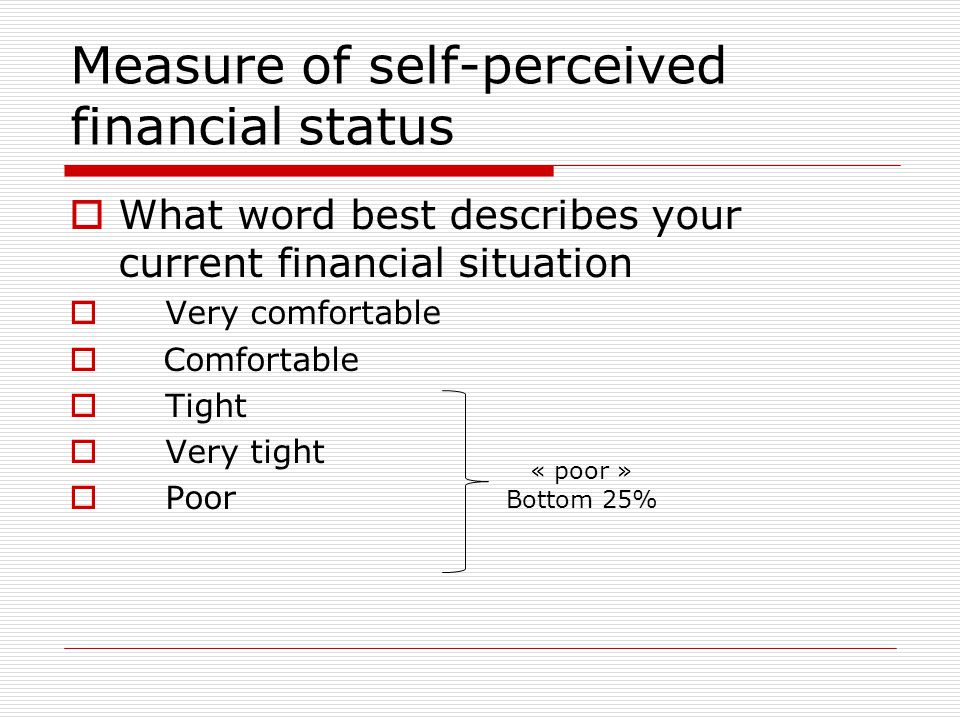 Measure of self-perceived financial status  What word best describes your current financial situation  Very comfortable  Comfortable  Tight  Very tight  Poor « poor » Bottom 25%