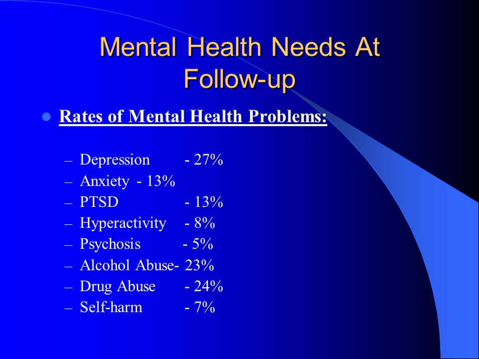 Mental Health Needs At Follow-up Rates of Mental Health Problems: – Depression- 27% – Anxiety- 13% – PTSD- 13% – Hyperactivity- 8% – Psychosis - 5% – Alcohol Abuse- 23% – Drug Abuse- 24% – Self-harm - 7%