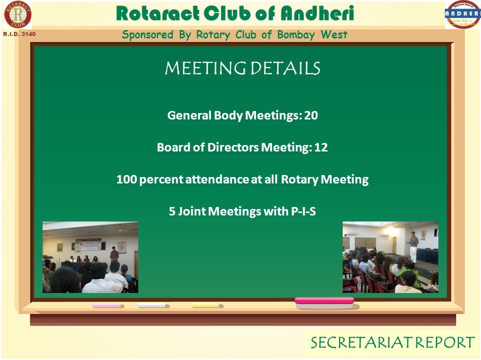 Rotaract Club of Andheri Sponsored By Rotary Club of Bombay West SECRETARIAT REPORT R.I.D. 3140 MEETING DETAILS General Body Meetings: 20 Board of Dir