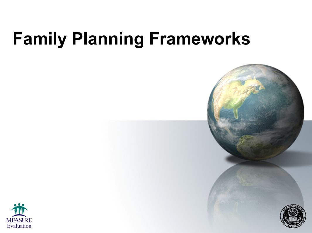 Conceptual Framework for FP Demand and Program Impact on Fertility Development programs Societal & individual factors FP supply factors Value & demand for children Service outputs: Access Access Quality Quality Acceptability Acceptability FP demand Spacing Limiting Other intermediate variables Contraceptive practice Service Utilization Fertility Wanted Unwanted Other health & social improvements Source: Bertrand, Magnani, and Rutenberg, 1996.