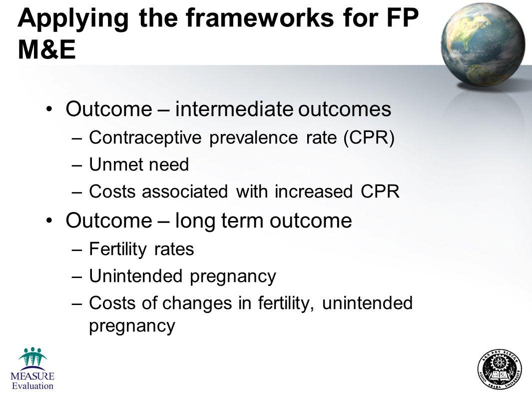 Indicators for FP programs See Bertrand and Escudero, 2002, Compendium of Indicators for Evaluating Reproductive Health Programs, 2 volumes –Indicators that crosscut program areas –Indicators for specific program areas