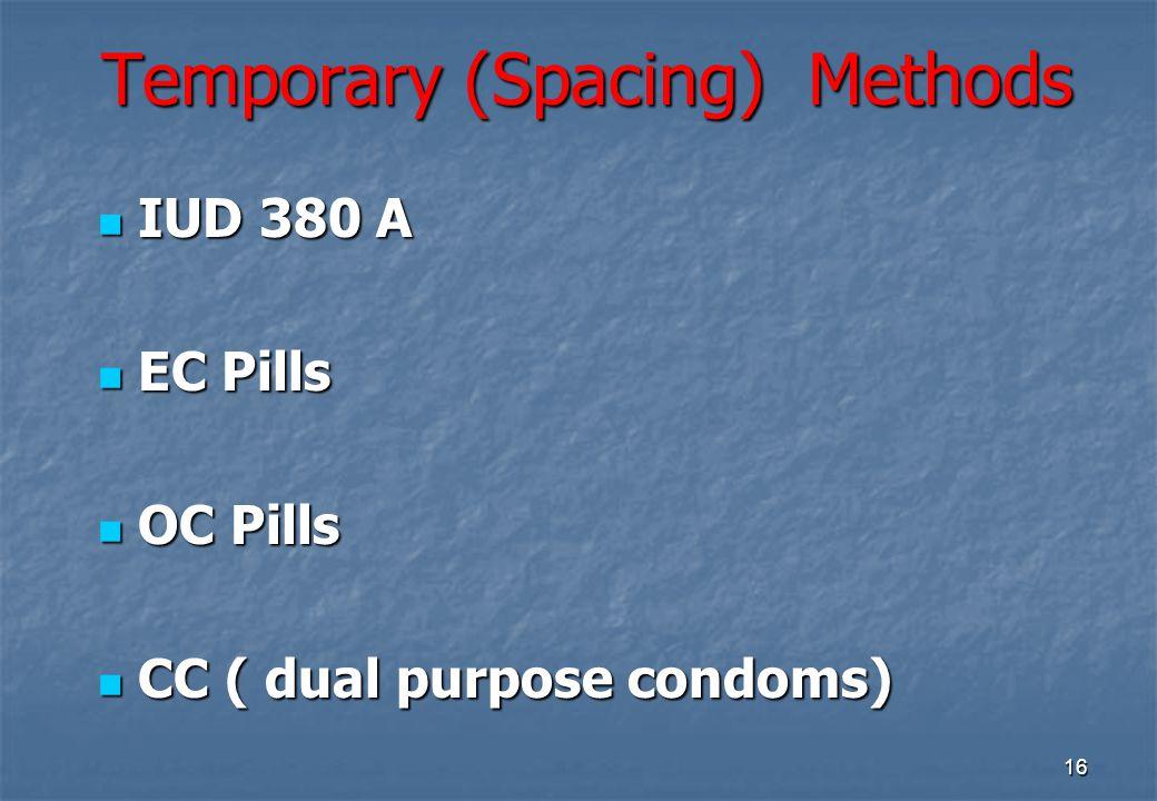 16 Temporary (Spacing) Methods IUD 380 A IUD 380 A EC Pills EC Pills OC Pills OC Pills CC ( dual purpose condoms) CC ( dual purpose condoms)