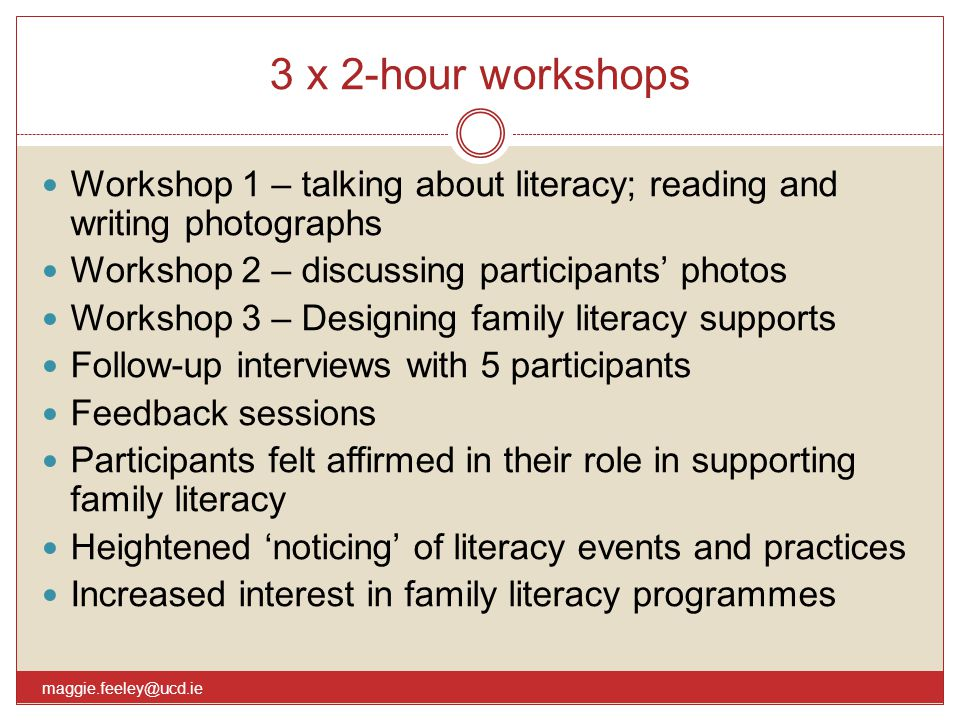 3 x 2-hour workshops maggie.feeley@ucd.ie Workshop 1 – talking about literacy; reading and writing photographs Workshop 2 – discussing participants' p