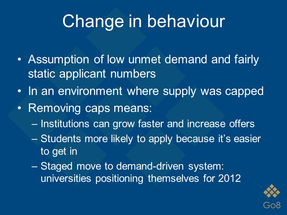 Change in behaviour Assumption of low unmet demand and fairly static applicant numbers In an environment where supply was capped Removing caps means: