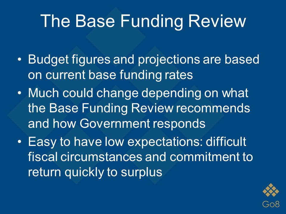 The Base Funding Review Budget figures and projections are based on current base funding rates Much could change depending on what the Base Funding Re