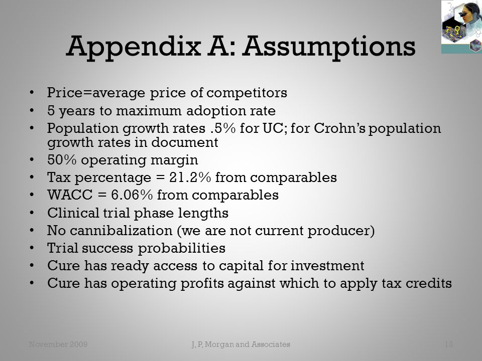 Appendix A: Assumptions Price=average price of competitors 5 years to maximum adoption rate Population growth rates.5% for UC; for Crohn's population