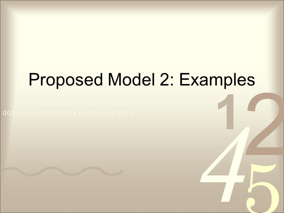 Proposed Model 2: Examples