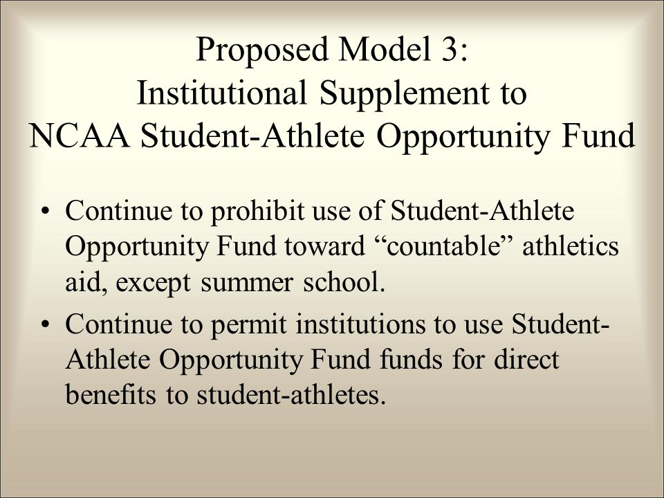 "Continue to prohibit use of Student-Athlete Opportunity Fund toward ""countable"" athletics aid, except summer school. Continue to permit institutions t"
