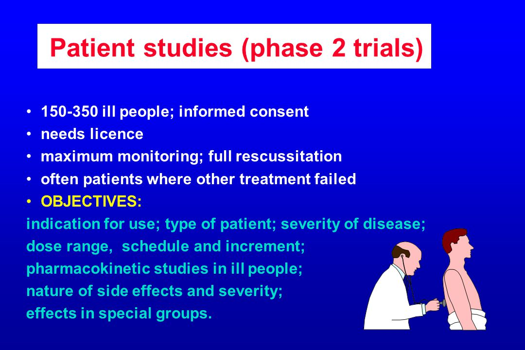 Patient studies (phase 2 trials) 150-350 ill people; informed consent needs licence maximum monitoring; full rescussitation often patients where other treatment failed OBJECTIVES: indication for use; type of patient; severity of disease; dose range, schedule and increment; pharmacokinetic studies in ill people; nature of side effects and severity; effects in special groups.