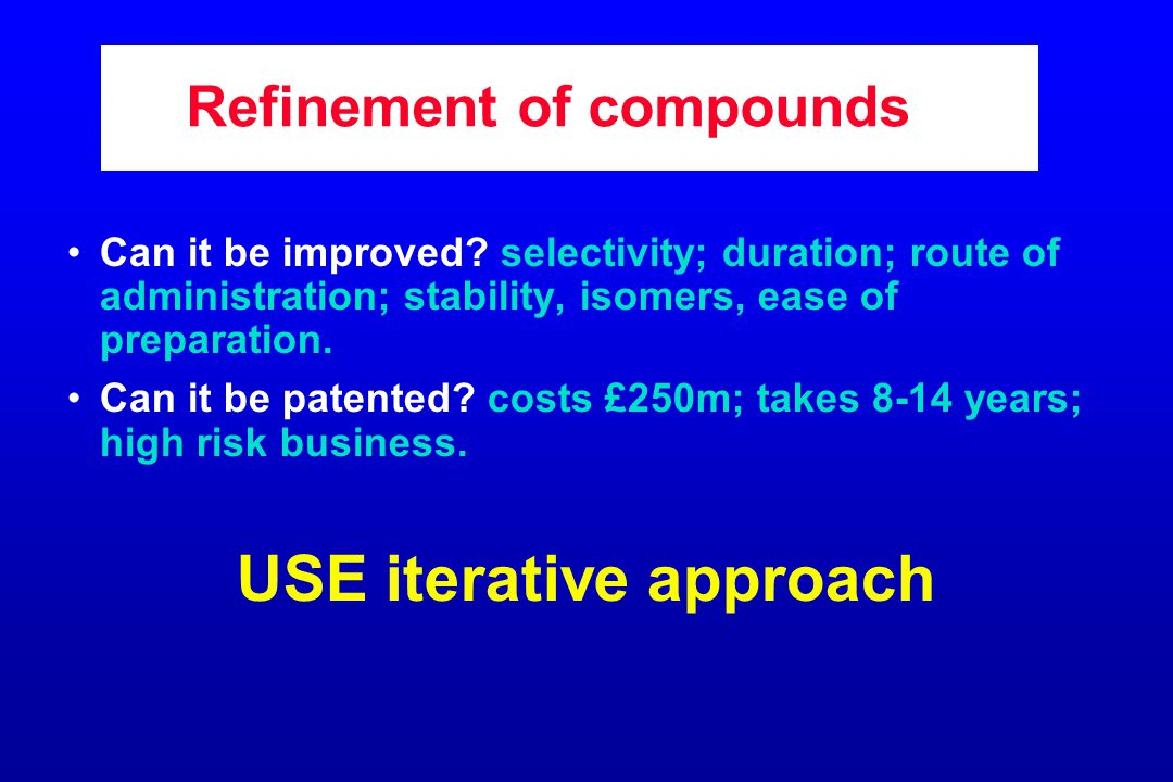 Refinement of compounds Can it be improved.