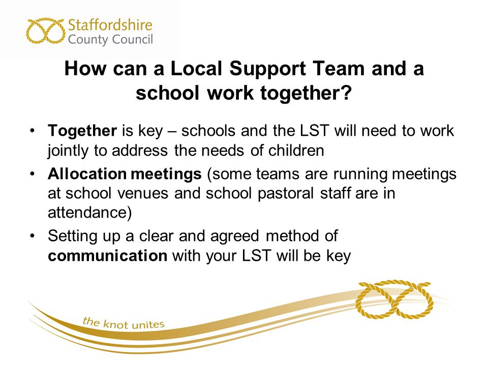 How can a Local Support Team and a school work together.