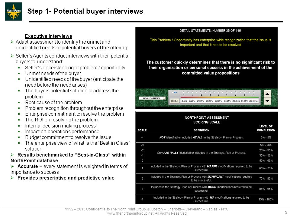 1992 – 2015 Confidential to The NorthPoint Group © Boston – Charlotte – Cleveland – Naples - NYC www.thenorthpointgroup.net All Rights Reserved Step 1- Potential buyer interviews Executive Interviews  Adapt assessment to identify the unmet and unidentified needs of potential buyers of the offering  Seller's Agents conduct interviews with their potential buyers to understand:  Seller's understanding of problem / opportunity  Unmet needs of the buyer  Unidentified needs of the buyer (anticipate the need before the need arises)  The buyers potential solution to address the problem  Root cause of the problem  Problem recognition throughout the enterprise  Enterprise commitment to resolve the problem  The ROI on resolving the problem  Internal decision making process  Impact on operations performance  Budget commitment to resolve the issue  The enterprise view of what is the Best in Class solution  Results benchmarked to Best-in-Class within NorthPoint database  Accurate – every statement is weighted in terms of importance to success  Provides prescriptive and predictive value 9
