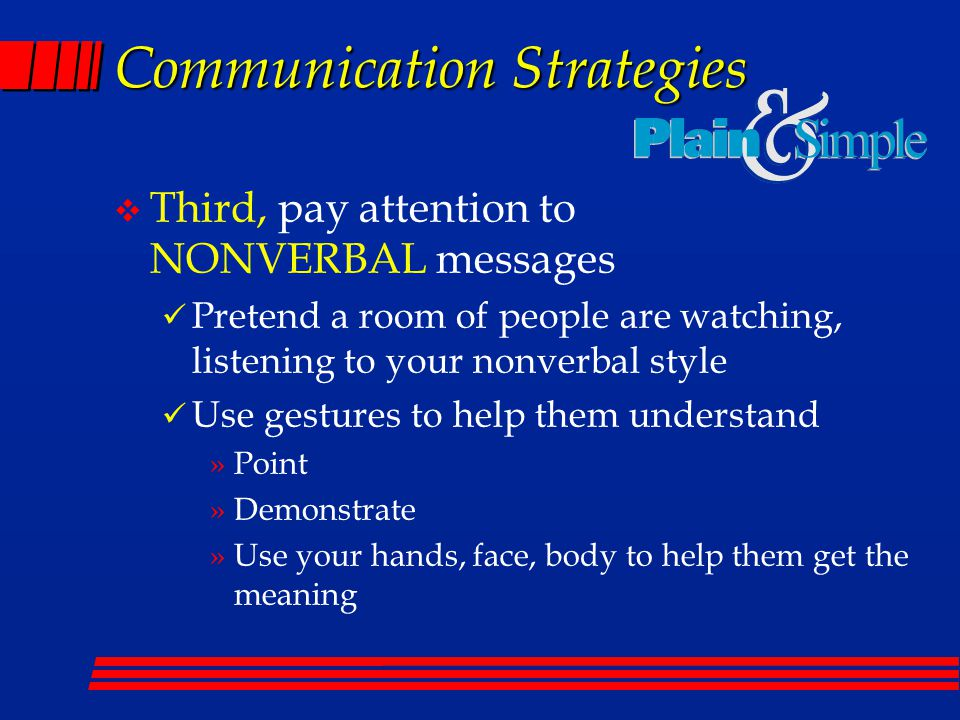 Communication Strategies v Third, pay attention to NONVERBAL messages Pretend a room of people are watching, listening to your nonverbal style Use gestures to help them understand »Point »Demonstrate »Use your hands, face, body to help them get the meaning