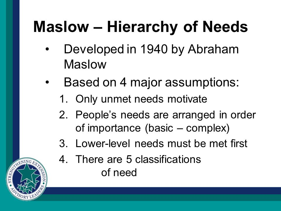 Maslow – Hierarchy of Needs Developed in 1940 by Abraham Maslow Based on 4 major assumptions: 1.Only unmet needs motivate 2.People's needs are arrange