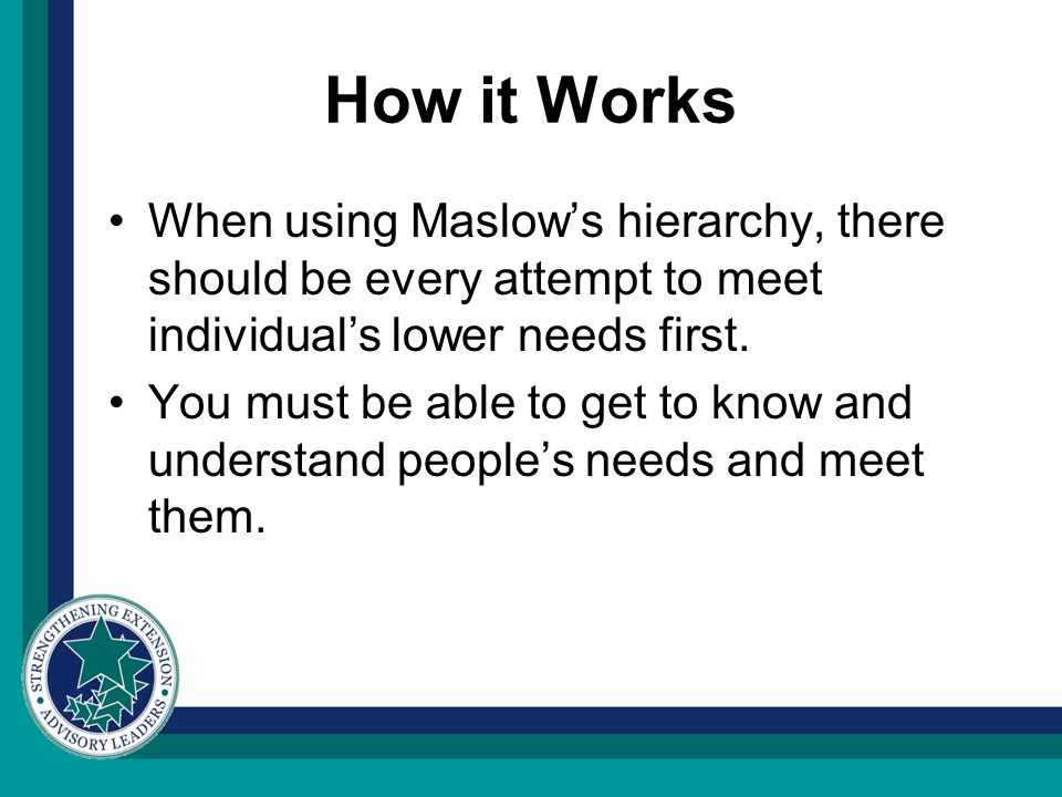 How it Works When using Maslow's hierarchy, there should be every attempt to meet individual's lower needs first.