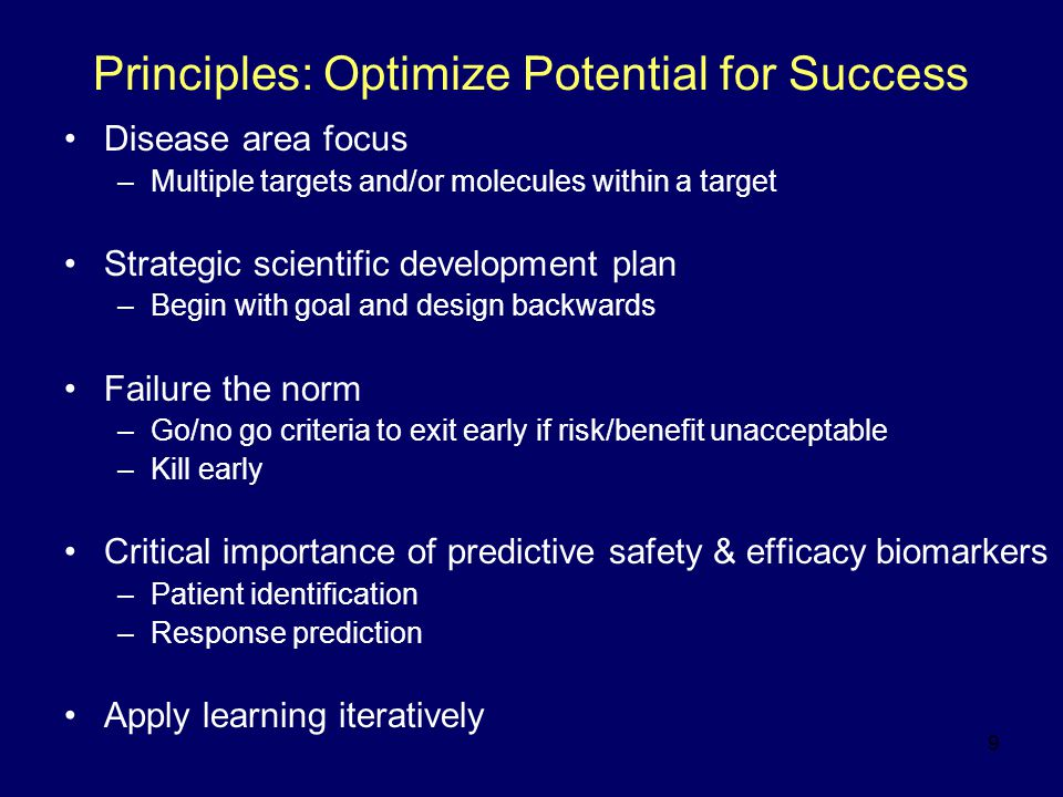 50 Phase I-II: General Concepts Phase I: –Tolerability/pharmacokinetics/efficacy Tolerability issues affect benefit /risk or limit dose determination - Possible No Go –Biomarker(s) to optimize dose selection/prediction of benefit or risk Target engagement (example: receptor occupancy: NK1) Target engagement and biologic effect (example: urinary LTE 4 : 5LO) Target engagement and biologic effect and clinical surrogate endpoint (example: reticulocytes - EPO) Phase II –Significant strategy choices: selection of surrogate biomarkers and endpoints –Help in bracketing doses for final clinical dose ranging study –Predictive of ultimate clinical endpoint (outcome) –Help to identify responder populations and biomarkers –Experimental models in humans