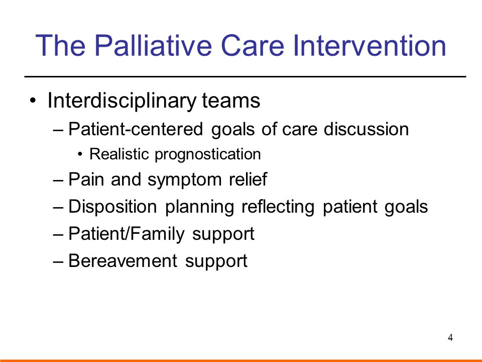 Key Palliative Care Outcomes –Reduced ICU length of stay –Rapid symptom relief –Earlier referral to hospice services-longer –Greater patient/family satisfaction –Lower hospital cost –Prolonged survival (outpatient intervention) 5