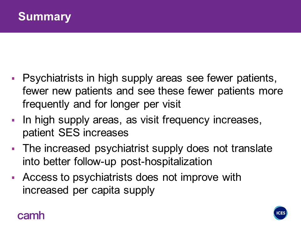 Summary  Psychiatrists in high supply areas see fewer patients, fewer new patients and see these fewer patients more frequently and for longer per visit  In high supply areas, as visit frequency increases, patient SES increases  The increased psychiatrist supply does not translate into better follow-up post-hospitalization  Access to psychiatrists does not improve with increased per capita supply 29
