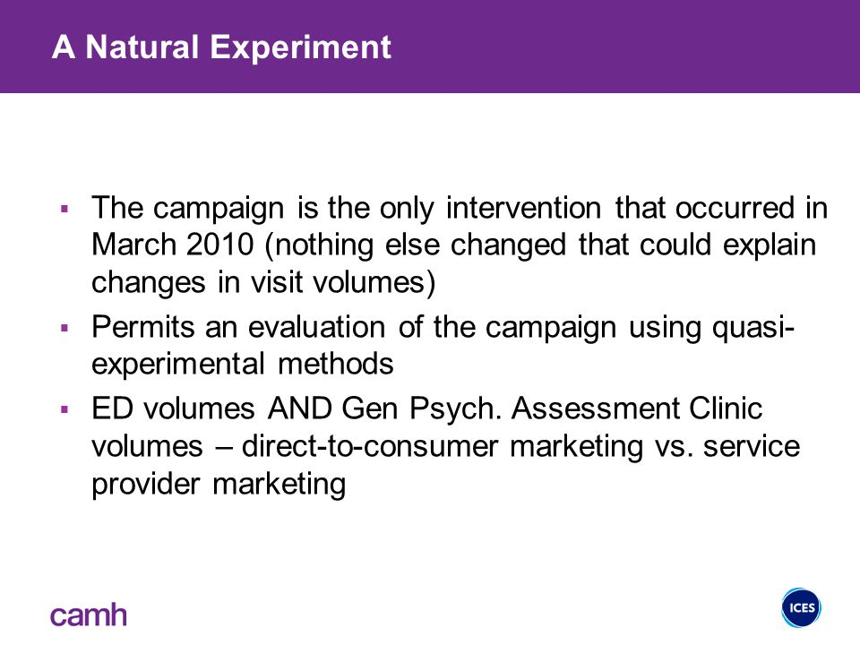 A Natural Experiment  The campaign is the only intervention that occurred in March 2010 (nothing else changed that could explain changes in visit volumes)  Permits an evaluation of the campaign using quasi- experimental methods  ED volumes AND Gen Psych.